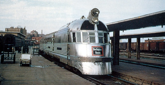 Mark Twain Zephyr in later years at Burlington, Iowa